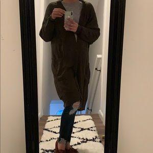 EUC Olive Green long Wrap Cardigan